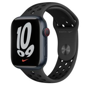 Bild Apple Watch Nike Series 7 (GPS + Cellular) 45mm Aluminium Mitternacht mit Sportarmband anthrazit/schwarz (MKL53FD)