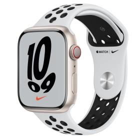 Bild Apple Watch Nike Series 7 (GPS + Cellular) 45mm Aluminium Polarstern mit Sportarmband Pure Platinum/schwarz (MKL43FD)