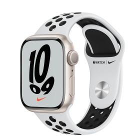 Bild Apple Watch Nike Series 7 (GPS) 41mm Aluminium Polarstern mit Sportarmband Pure Platinum/schwarz (MKN33FD)