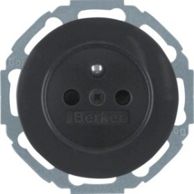 Berker Serie R.classic Steckdose mit Schutzkontaktstift, schwarz glänzend (6765792045)
