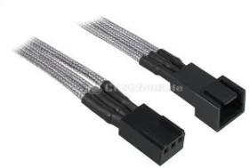 BitFenix Alchemy 3-Pin Verlängerung 60cm, sleeved silber/schwarz (BFA-MSC-3F60SK-RP)