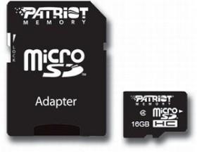Patriot Signature microSDHC 16GB Kit, Class 4 (PSF16GMCSDHC43P)
