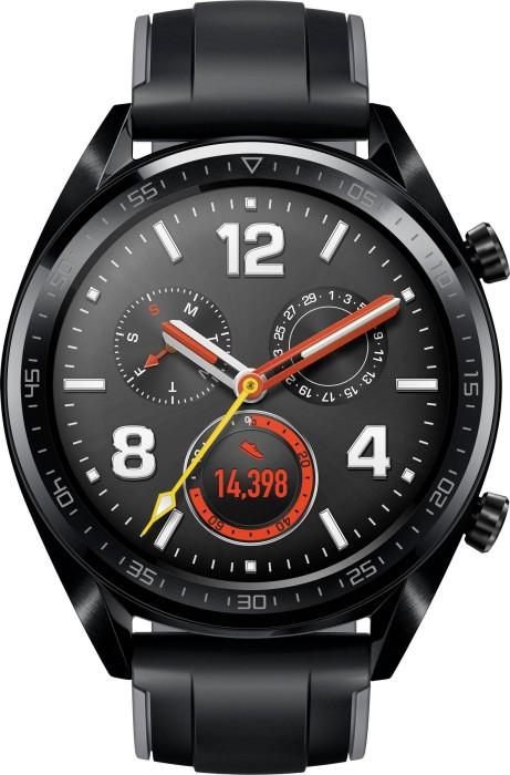 Huawei Watch GT Sport schwarz mit Silikonarmband schwarz (55023255/55023259)