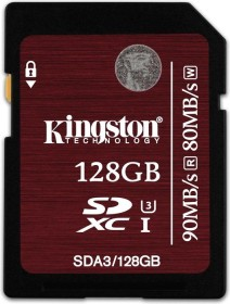 Kingston UHS-I U3 R90/W80 SDXC 128GB, UHS-I U3, Class 10 (SDA3/128GB)