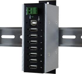 Exsys Industrial Railmount USB hub, 7x USB-A 2.0, USB-B 2.0 [socket] (EX-1177HMVS-WT)