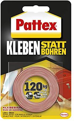Pattex Kleben instead of drill adhesive tape, double-sided, universal, 19mm/1.5m (PXMT2)