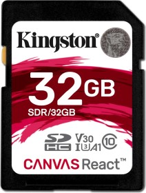 Kingston Canvas React R100/W70 SDHC 32GB, UHS-I U3, A1, Class 10 (SDR/32GB)
