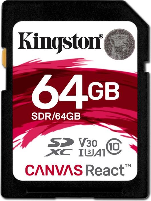 Kingston Canvas React R100/W80 SDXC 64GB, UHS-I U3, A1, Class 10 (SDR/64GB)