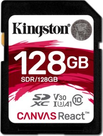 Kingston Canvas React R100/W80 SDXC 128GB, UHS-I U3, A1, Class 10 (SDR/128GB)