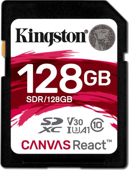 Kingston Canvas React R100/W80 SDXC 128GB, UHS-I U3, A1, Class 10 (SDR/128GB)