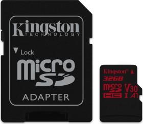 Kingston Canvas React R100/W70 microSDHC 32GB Kit, UHS-I U3, A1, Class 10 (SDCR/32GB)