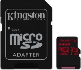 Kingston Canvas React R100/W80 microSDXC 64GB Kit, UHS-I U3, A1, Class 10 (SDCR/64GB)