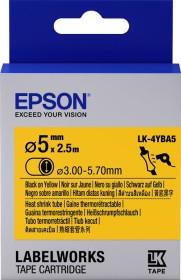 Epson LK-4YBA5 shrink tubing 5mm, black/yellow (C53S654906)