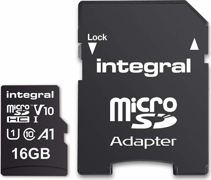 Integral High Speed R100 microSDHC 16GB Kit, UHS-I U1, A1, Class 10 (INMSDH16G-100V10)