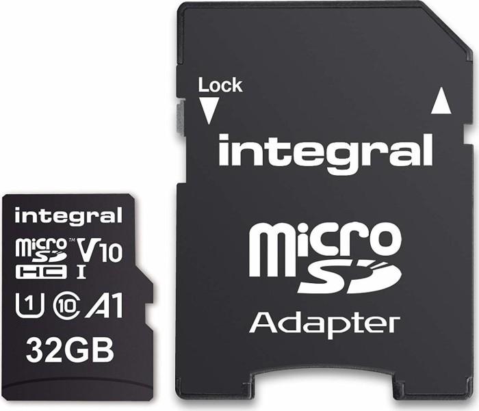 Integral High Speed R100 microSDHC 32GB Kit, UHS-I U1, A1, Class 10 (INMSDH32G-100V10)