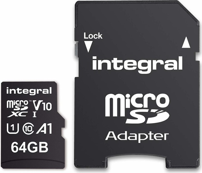 Integral High Speed R100 microSDXC 64GB Kit, UHS-I U1, A1, Class 10 (INMSDX64G-100V10)
