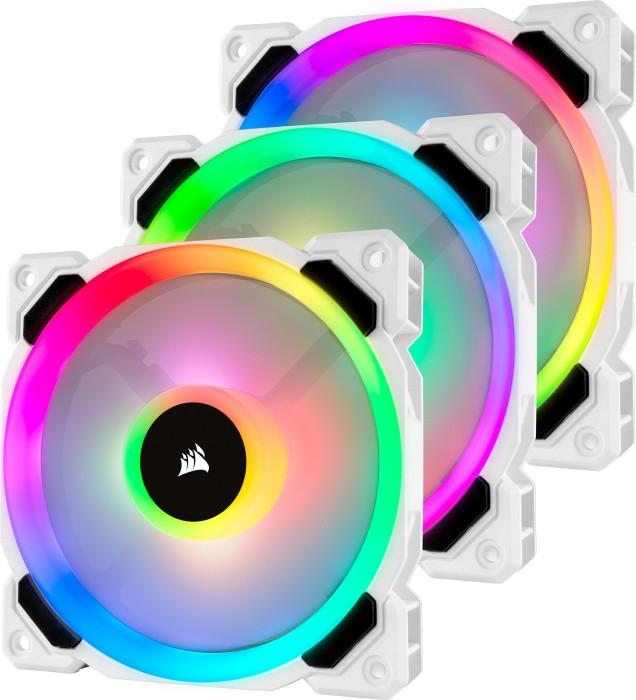 Corsair LL Series LL120 RGB, weiß, 120mm, 3er-Pack, LED-Steuerung (CO-9050092-WW)