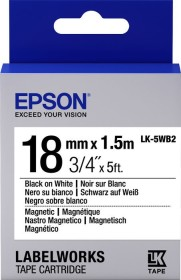 Epson LK-5WB2 label-making tape magnetic 18mm, black/white (C53S655001)
