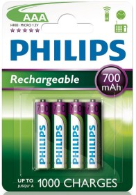 Philips Rechargeable Micro AAA NiMH 700mAh, 4er-Pack (R03B4A70/10)