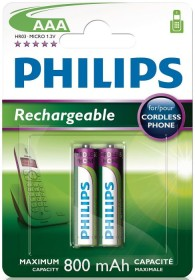 Philips rechargeable Micro AAA NiMH 800mAh, 2-pack (R03B2A80/10)