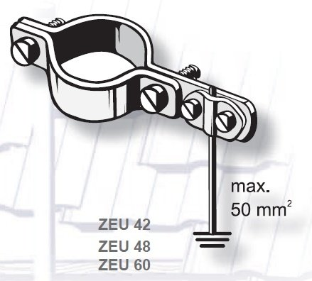 Kathrein ZEU 42/48/60 earthing clamp (276016/276017/276018)