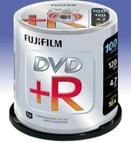 Fujifilm DVD+R 4.7GB 16x, 100-pack Spindle (48274)