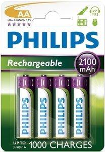 Philips MultiLife Mignon AA NiMH Akku 2100mAh, 4er-Pack (R6B4A210/10)