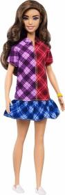 Mattel Barbie Fashionistas Barbie mit langem braunen Haar, Kleid mit Colorblock-Karomuster und Accessoires (GHW53)