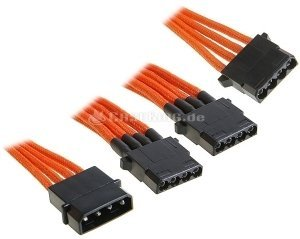 BitFenix Alchemy 4-pin molex on 3x 4-pin molex 55cm, sleeved orange (BFA-MSC-M3MOK-RP) -- © caseking.de