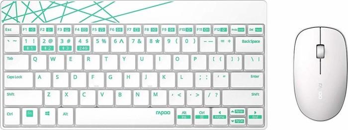 Rapoo 8000M Multi-Mode Wireless Combo weiß/grün, USB, DE (18130)