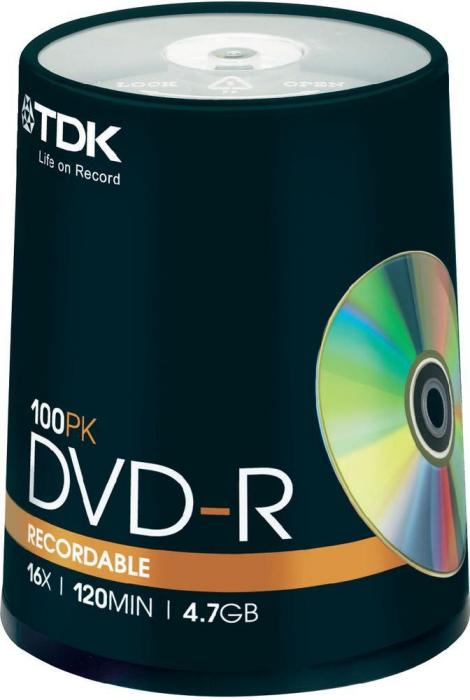 TDK DVD-R 4.7GB 16x, 100-pack Spindle (T19479)