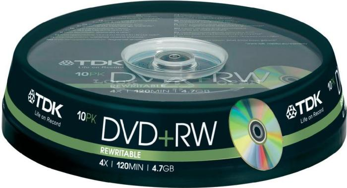 TDK DVD+RW 4.7GB 4x, 10-pack Spindle (T19524)