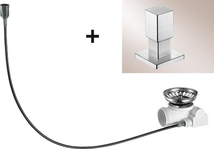 Blanco drain remote-retrofit kit pull knob Quadris stainless steel semi-glossy (517552)