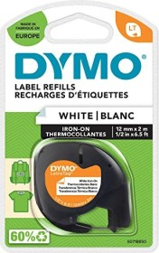 Dymo LetraTag Iron on labelling tape 12mm, black/white (18769)
