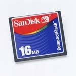 SanDisk CompactFlash Card (CF) 16MB (SDCFB-16) -- © SanDisk