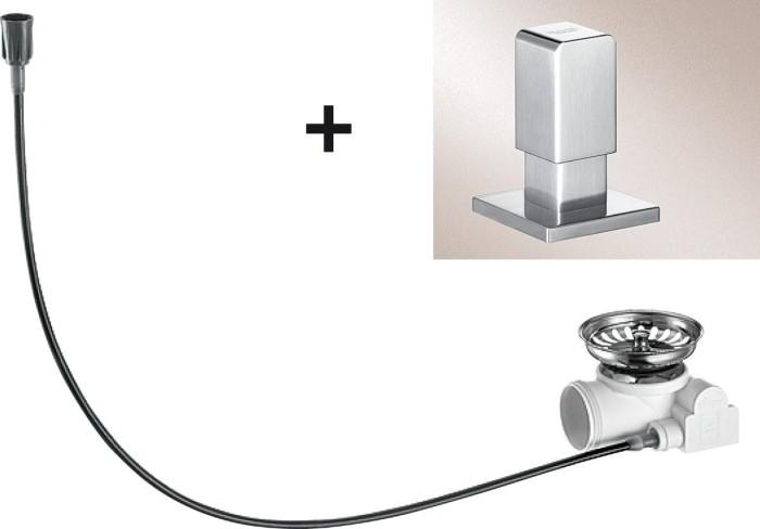 Blanco drain remote-retrofit kit pull knob Levos stainless steel silk gloss (517548)