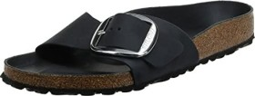 Details zu Birkenstock Damen Pantoletten Madrid Big Buckle schwarz Nubuk Leder 1006523