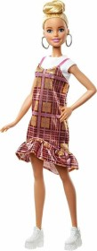 Mattel Barbie Fashionistas Barbie mit rosa Kleid in schimmerndem Karomuster (GHW56)