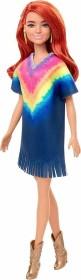 Mattel Barbie Fashionistas Barbie mit Jeanskleid im Batiklook und Fransen rothaarig (GHW55)