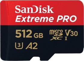 SanDisk Extreme PRO R170/W90 microSDXC 512GB Kit, UHS-I U3, A2, Class 10 (SDSQXCZ-512G-GN6MA)