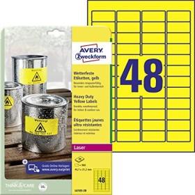 Avery-Zweckform Folienetiketten 45.7x21.2mm, gelb, 20 Blatt (L6103-20)