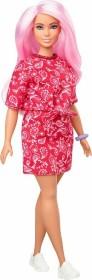 Mattel Barbie Fashionistas Barbie mit Bandanakleid im rotem Paisley-Muster Curvy (GHW65)