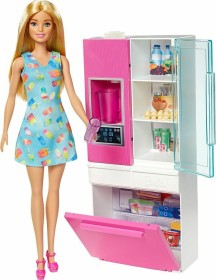 Mattel Barbie Doll in Blonde and Refrigerator with Working Water Dispenser (GHL84)