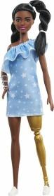 Mattel Barbie Fashionistas Barbie mit Beinprothese 2 gedrehten Zoepfen und Kleid mit Sternenmuster (GHW60)