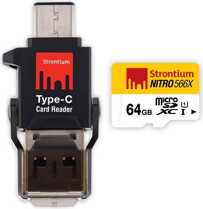 Strontium Nitro 566x R85 microSDXC 64GB C-Type Mobile Kit, UHS-I U1, Class 10 (SRN64GTFU1P)