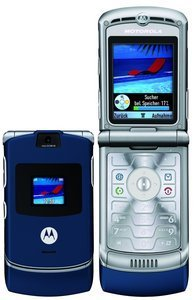 Motorola RAZR V3 blue Edition with branding