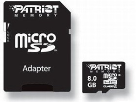 Patriot Signature microSDHC 8GB Kit, Class 4 (PSF8GMCSDHC43P)