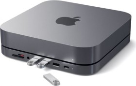 Satechi Type-C Aluminium Stand Hub für Mac Mini, Space Gray, Dual-Slot-Cardreader, USB-C 3.0 [Stecker] (ST-ABHFM)