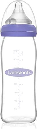 Lansinoh Wide Neck Bottle Glass With NaturalWave Sucker M 240ml 77150