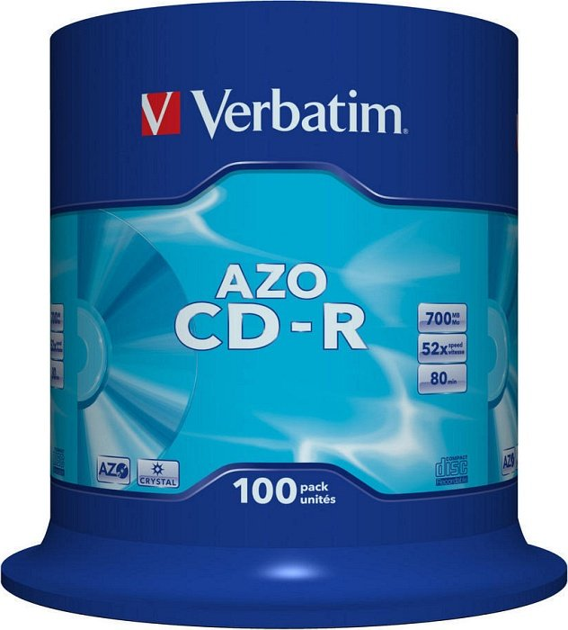 Verbatim Azo Crystal CD-R 80min/700MB 52x, 100-pack Spindle (43430)